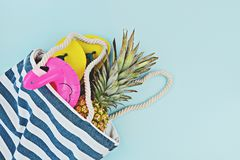 Colorful summer set for pool or beach flat lay stock photos