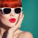Colorful summer portrait. Of an attractive young woman with sunglasses Royalty Free Stock Photos
