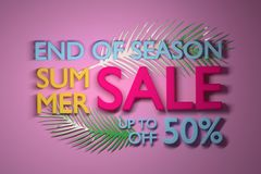 Colorful Summer Sale Banner with tropical leaves. Summer Sale banner with big text and tropical leafs in vibrant colors. 3d illustration stock illustration