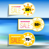 Colorful summer sale tags set Stock Photos
