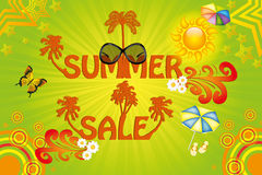 Colorful summer sale template. Colorful tropical summer sale template Royalty Free Stock Photo