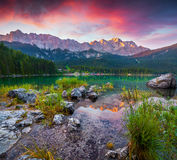 Colorful summer scene on the Eibsee lake in German Alps Royalty Free Stock Image
