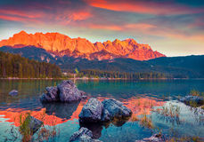 Colorful summer scene on the Eibsee lake in German Alps Royalty Free Stock Photos