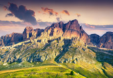 Colorful summer scene in southern slope of Piz Boe mountain rang. E. Sunrise in Dolomite Alps, view from Pordoi pass, Canazei location, Trentino, Italy, Europe Stock Images