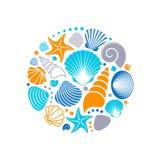 Colorful summer sea shells stock illustration