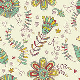 Colorful summer seamless pattern. Floral decorative background. Stock Photo