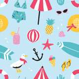 Colorful summer seamless pattern with hand drawn elements pineapple, ice cream, seagull, surfboard, ball, swimwear, hat. Beach umbrella, sunglasses, lifebuoy Royalty Free Stock Photo