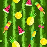 Colorful Summer seamless pattern with watermelon, pineapple, cocktail, cherry, orange and ice cream. Vector illustration.  royalty free illustration