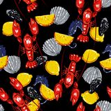 Colorful summer Seamless sea pattern with colorful summer. Shell and lobsters.Colorful summer lemons and seahorse  background.Textile texture on black Stock Photo