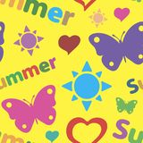 Colorful summer seamless texture. Seamless texture summer silhouettes with the sun and butterflies Royalty Free Stock Photo