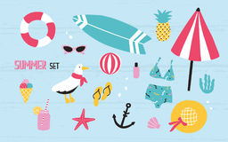 Colorful summer set with hand drawn elements pineapple, ice cream, seagull, surfboard, ball, swimwear, hat, beach. Umbrella, sunglasses lifebuoy starfish drink Royalty Free Stock Photo