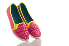 Colorful summer shoes isolated on white Royalty Free Stock Images