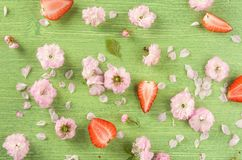 Colorful summer or spring nature background. Pink almond flowers, bud, leaf and petal on green wooden natural background, flat lay. Top view royalty free stock photography