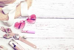 Colorful summer still life on wood table with place for text royalty free stock photo
