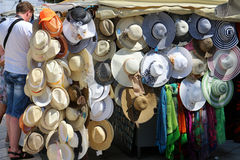 Colorful summer straw hats Stock Photos