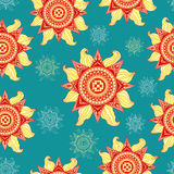 Colorful summer sun seamless pattern on aquamarine background Royalty Free Stock Photos