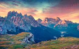 Colorful summer sunrise on Cadini di Misurina mountain range Royalty Free Stock Image