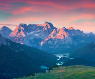 Colorful summer sunrise on the Cadini di Misurina range Royalty Free Stock Photography