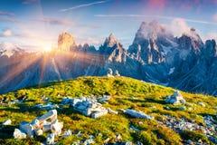 Colorful summer sunrise of the Cadini di Misurina range Royalty Free Stock Photography
