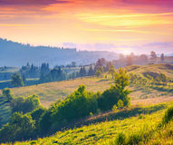 Colorful summer sunrise in the Carpathian mountains with rolling Royalty Free Stock Image