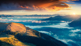 Colorful summer sunrise in Dolomite Alps stock photography