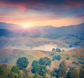 Colorful summer sunrise in the foggy mountain village Stock Photo