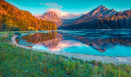 Colorful summer sunrise on the incredibly beautiful Swiss lake O Royalty Free Stock Photo