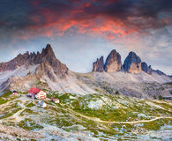 Colorful summer sunrise in Italy Alps, refugio Lacatelli, Tre Ci Stock Images