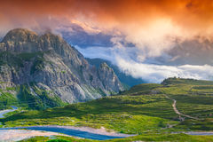 Colorful summer sunrise in Italy Alps, Tre Cime Di Lavaredo, Dol Royalty Free Stock Image