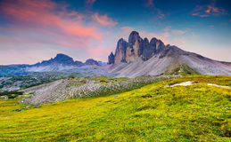 Colorful summer sunrise in Italy Alps, Tre Cime Di Lavaredo, Dol Stock Photography