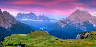 Colorful summer sunrise in Italy Alps, Tre Cime Di Lavaredo, Dol Stock Images