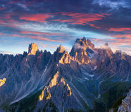 Colorful summer sunrise in Italy Alps, Tre Cime Di Lavaredo, Dol Royalty Free Stock Photography