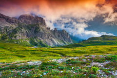Colorful summer sunrise in Italy Alps, Tre Cime Di Lavaredo, Dol Royalty Free Stock Photos