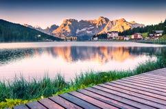 Colorful summer sunrise on the Lake Misurina Royalty Free Stock Images