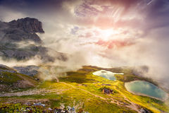 Colorful summer sunrise on the Lakes Del Piani Stock Images