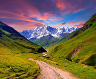 Colorful summer sunrise in the mountains Royalty Free Stock Photography