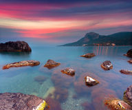 Colorful summer sunrise on sea Stock Photography