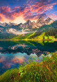 Colorful summer sunrise on the Vorderer Gosausee lake Royalty Free Stock Image