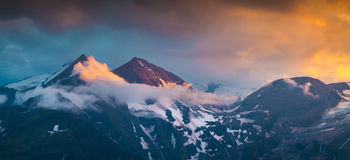 Colorful summer sunset on the Grossglockner mountain Royalty Free Stock Photography