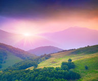Colorful summer sunset in mountains Royalty Free Stock Photos