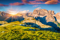 Colorful summer sunset on the Paternkofel mountain range Royalty Free Stock Photography