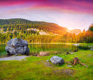 Colorful summer sunset on the Vorderer Gosausee lake Royalty Free Stock Photography