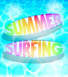 Colorful Summer Surfing Design with Floating Surfboards Stock Images