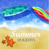 Colorful Summer Surfing Design Royalty Free Stock Photo
