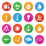 Colorful Summer Vacation and Tourism Icon Set. With Long Shadows Stock Image