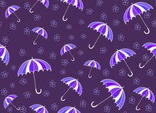 Colorful summer vector seamless pattern with umbrellas and handwritten flowers Royalty Free Stock Photo