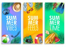 Colorful Summer Vertical Banner Set with Bright Vivid Gradient Background and Tropical Elements. Like Palm Leaves, Surfboard, Scuba Diving Equipment, Beach Ball vector illustration