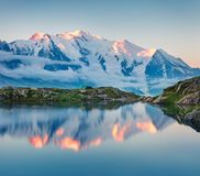 Colorful summer view of the Lac Blanc lake with Mont Blanc Mont stock image