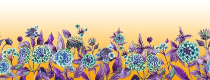 Colorful summer wide banner. Beautiful lantana flowers with purple leaves on orange background. Horizontal template. Seamless panoramic floral pattern Stock Images