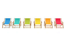 Colorful sun chairs isolated on white background Stock Photography